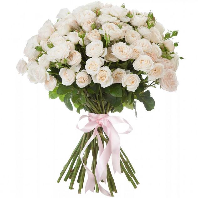 Букет из 25 белых кустовых роз